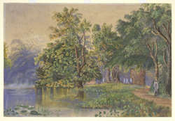 Landscape with tank and trees on the old Circular Road, Calcutta (Bengal). 1861 or 1867